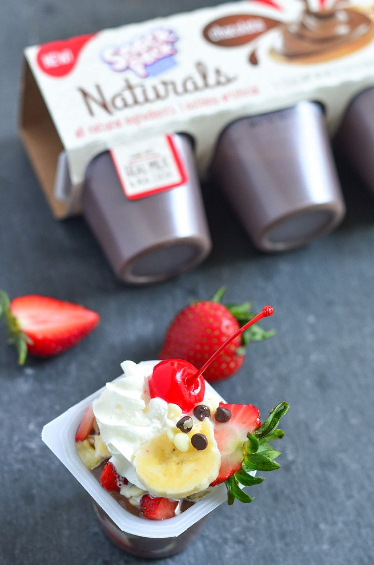 Banana Split Pudding Snack Pack! A fun and delicious after school snack for kids when they're tired from a long day. Make this quick and easy snack for after school or even after dinner for dessert.