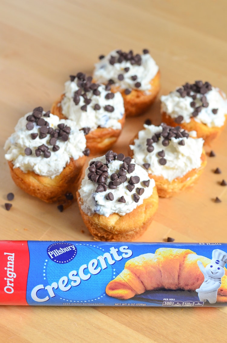These Chocolate Chip Cheesecake Crescents are a crowd pleaser and perfect for entertaining. Our creamy no bake cheesecake is topped on a buttery, flaky, crescent roll.