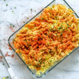 Super simple Deviled Egg Pasta Salad. It's a great recipe for entertaining and it's a must make Thanksgiving Recipe, even use leftover deviled eggs. Add this delicious recipe to your Thanksgiving Menus to wow guests.