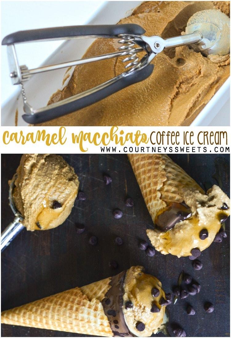 Enjoy a scoop of our homemade Caramel Macchiato Coffee Ice Cream! We made it a no cook, no eggs recipe, all you need is a high speed blender and some ice cube trays. It's creamy and full of flavor with caramel, coffee, and even chocolate chips! Have a fun treat for the next brunch party; they could totally pass for breakfast, because, COFFEE