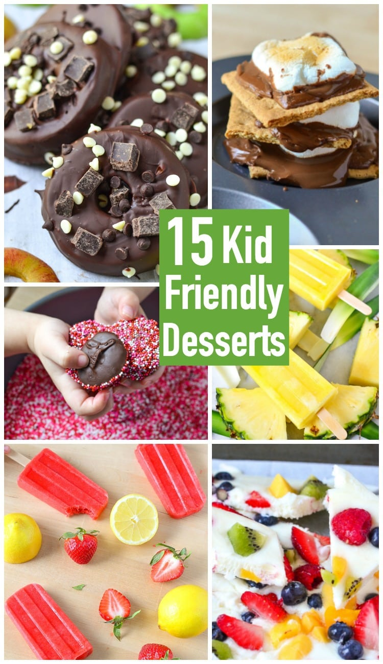 15 Kid Friendly Desserts made on Mini Chef Mondays! These are easy recipes kids can make with just a little help from adults or siblings in the kitchen.