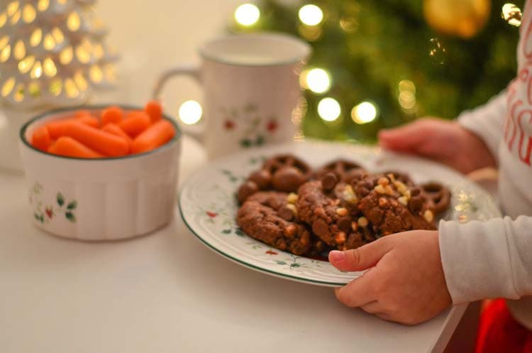 Merry Christmas Double Chocolate Chip Cookies for Santa with holiday decorations from Boscov's.