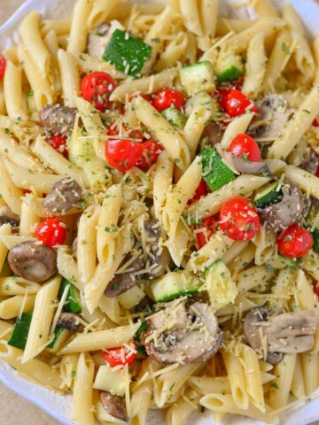 Our Easy Vegetarian Penne Pasta Recipe is excellent for entertaining and it's a great side dish to bring to holiday parties too!