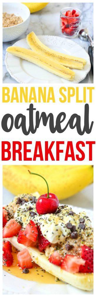 Healthy, delicious and nutritious Oatmeal Breakfast that is a fun breakfast recipe. Make our banana split oatmeal breakfast.