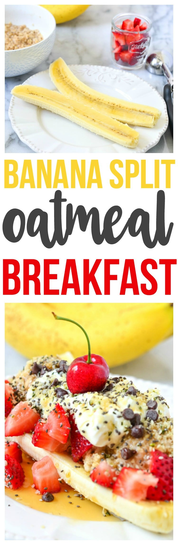 Healthy, delicious and nutritious Oatmeal Breakfast that is a fun breakfast recipe. Make our banana split oatmeal breakfast.