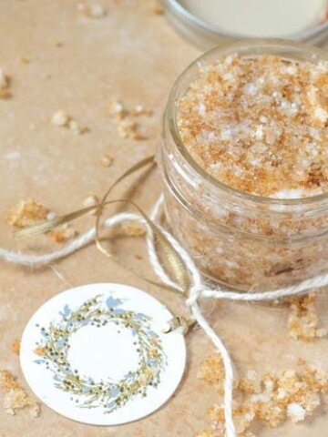 A simple DIY Vanilla Brown Sugar Scrub along with an Amope mani-pedi set is perfect for gift-giving during the holiday season.