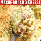 This delicious Caprese mac and cheese recipe is an easy meal for the family or even entertaining. Flavorful, filled with tomatoes, pesto, fontina and mozzarella cheeses.