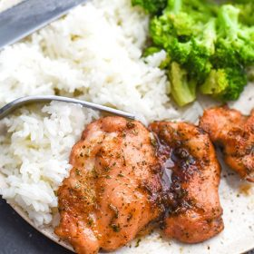 This sweet baked boneless chicken thighs recipe cooks up in less than 30 minutes! A chicken recipe that is loaded with flavor like sweetness, salty, and garlic!