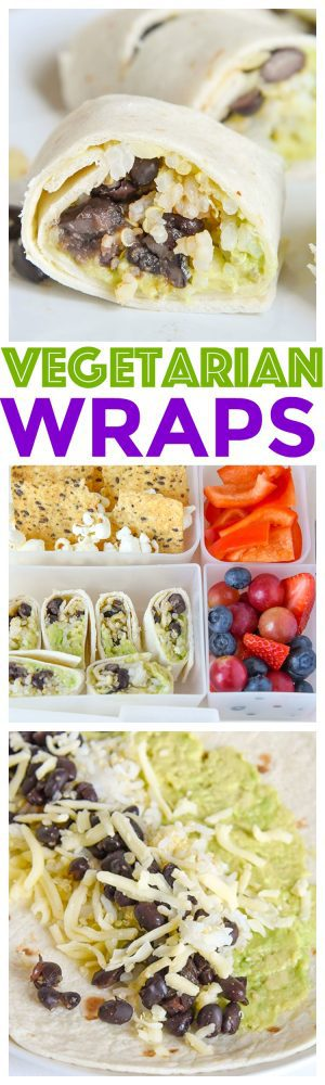 Vegetarian Wraps Recipe - Avocado and Black beans mixed with quinoa rice complete a healthy balanced meal for your kids or even yourself!