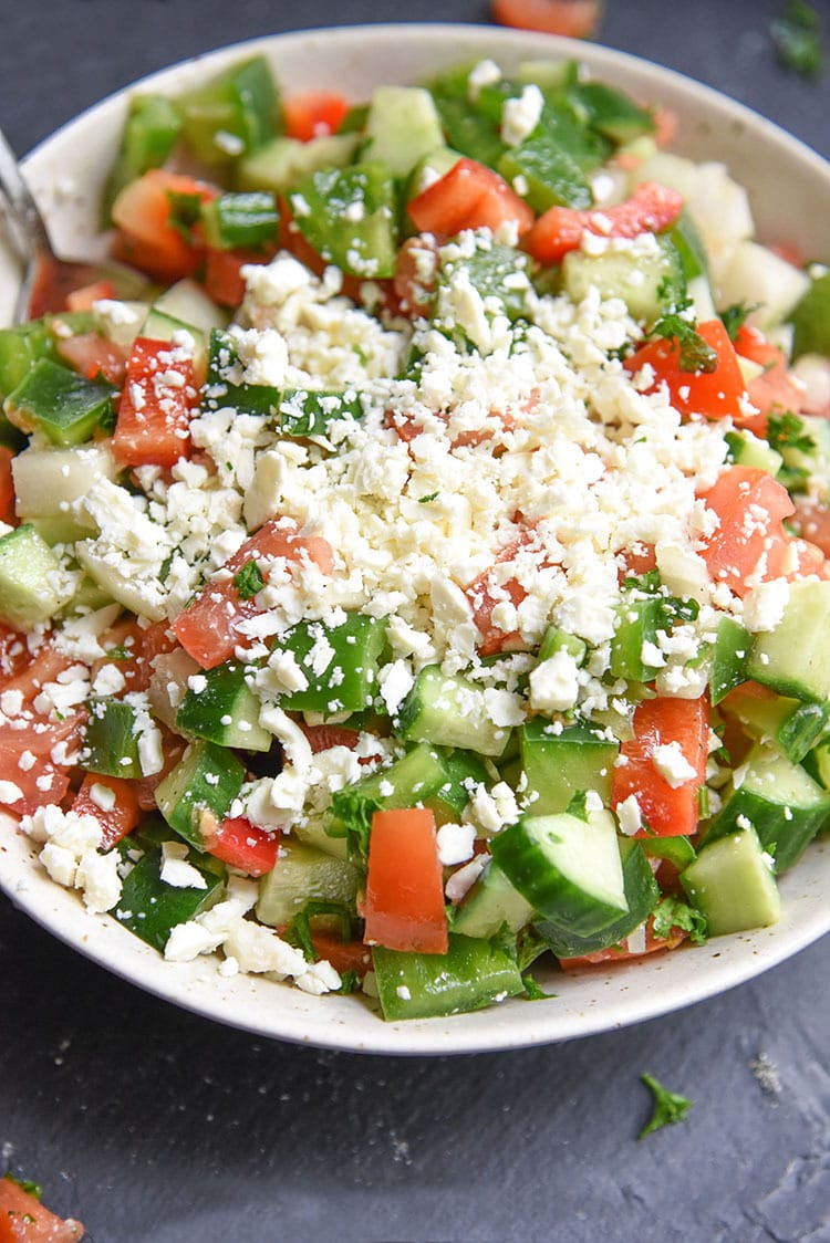 Healthy Shopska Salad Recipe! Filled with fresh vegetables that are good for you whether it's for lunch, dinner, or an easy healthy snack.