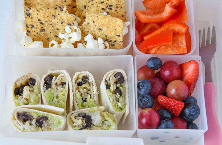 Avocado and Black beans mixed with quinoa rice complete a healthy balanced meal for your kids or even yourself!