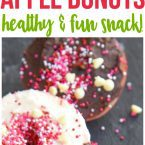 Mini Chef Mondays Easy Apple Donut Recipe for kids! Easy healthy snack using sprinkles for your favorite no bake holiday treats.