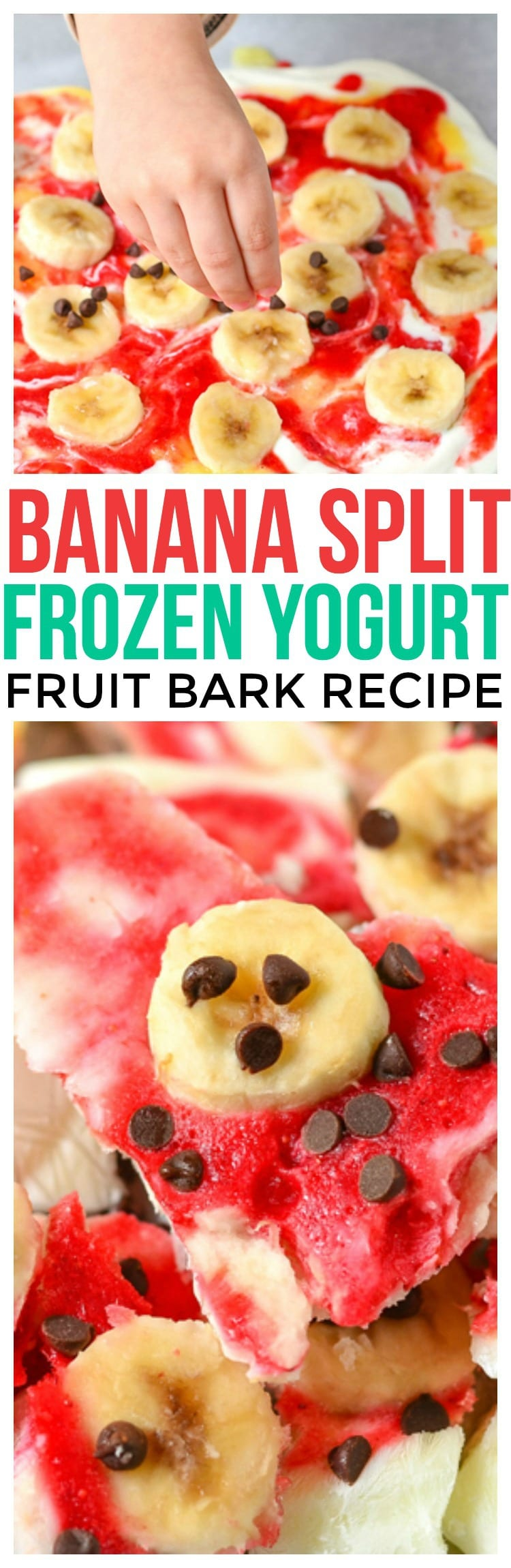 Banana Split Frozen Yogurt Bark, a refreshing frozen dessert banana split dessert recipe healthy yogurt recipes healthy kid friendly recipes