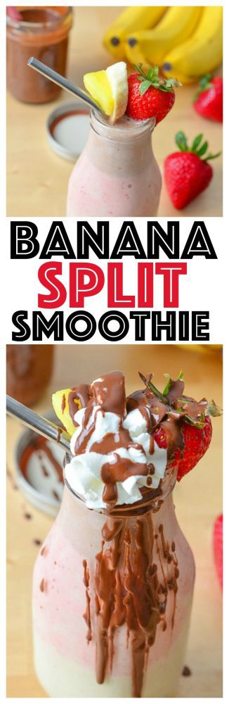 Healthy Banana Split Smoothie Kid Friendly Desserts Clean Eating Recipes smoothie recipes healthy breakfast fruit Layered Smoothie Recipe