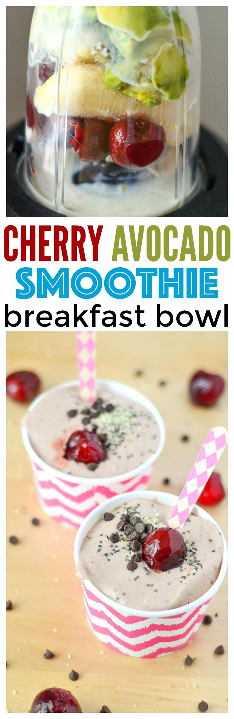 Cherry Avocado Smoothie Bowl Breakfast that is healthy Cherry Smoothie Smoothie recipes healthy Mini Chef Mondays Kid Friendly Food Recipes