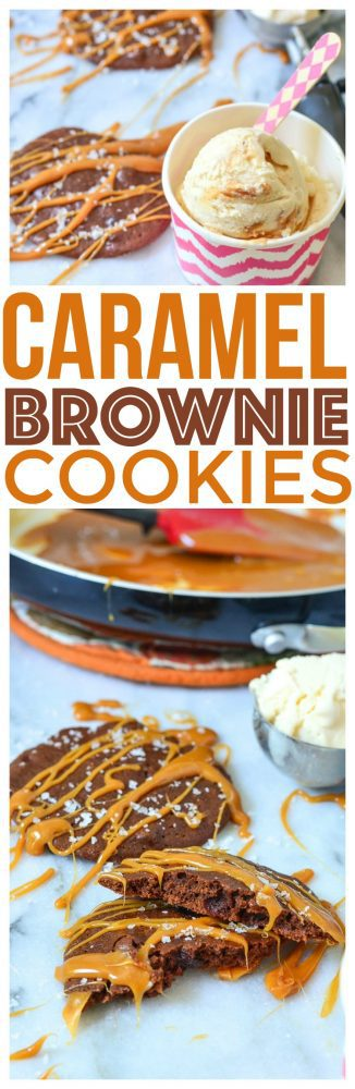 Easy brownie cookie recipe for quick dessert brownie recipes chewy chocolate brownie cookies caramel drizzle served with swirled ice cream