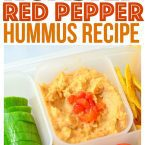 Roasted Red Pepper Hummus for Back to School Vegetarian Vegan Bento easily make this hummus without tahini lunch for kids at home or school