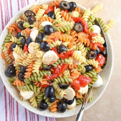 COLORFUL Tri Color Pasted Salad is a hit! I'm always asked to make this tri colored pasta salad for parties and it's the best cold salad without mayo!