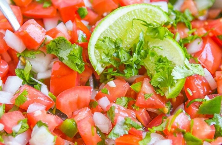 Authentic Pico de Gallo Recipe - By far the best pico de gallo recipe we've made. A fresh Salsa Fresca recipe for tacos, fajitas, and even with chips with fresh pico. (aka salsa with fresh tomatoes)