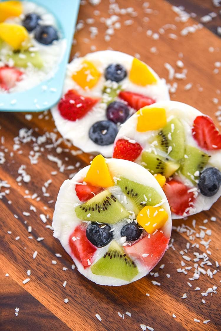 Frozen Yogurt Fruit Bark Mini Chef Mondays Recipe Whole Milk Yogurt, Organic Fresh Fruit, easy healthy snack Healthy Food Dessert Recipe