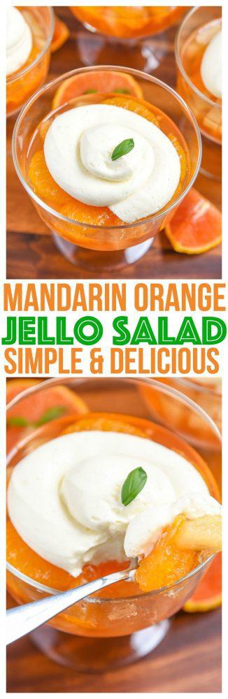Quick easy Mandarin Orange Jello Salad Recipe. Simple gelatin dessert for summer parties! Kid Friendly Recipe on Mini Chef Mondays, Jello salad with pudding.