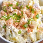 Quick and easy Potato Salad with Eggs Recipe is a great summer side dish for parties! Comfort food that is a family favorite for many!