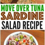 Sardine Salad recipe for crackers or sardine salad sandwich! Easy healthy fish recipe packed with fresh lemon, peppers and onions.