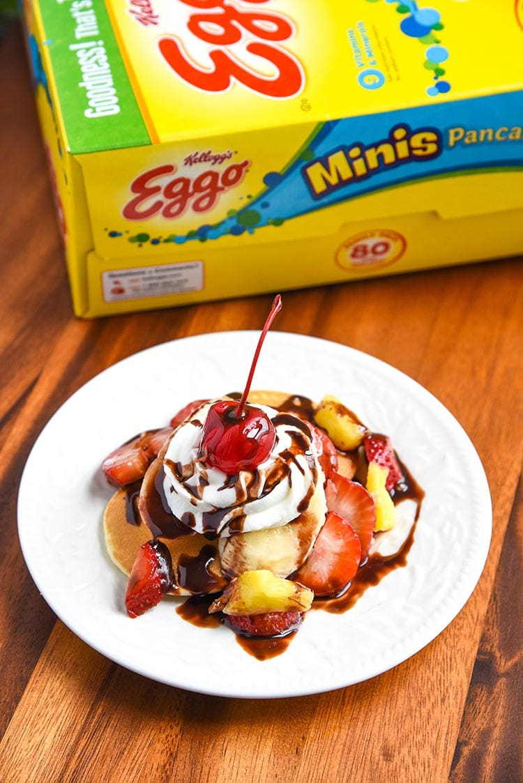 Banana Split Breakfasts are my absolute favorite. Especially this Banana Split Waffles Breakfast! Fun twist on a classic dessert recipe turned into a tasty breakfast recipe. pancakes