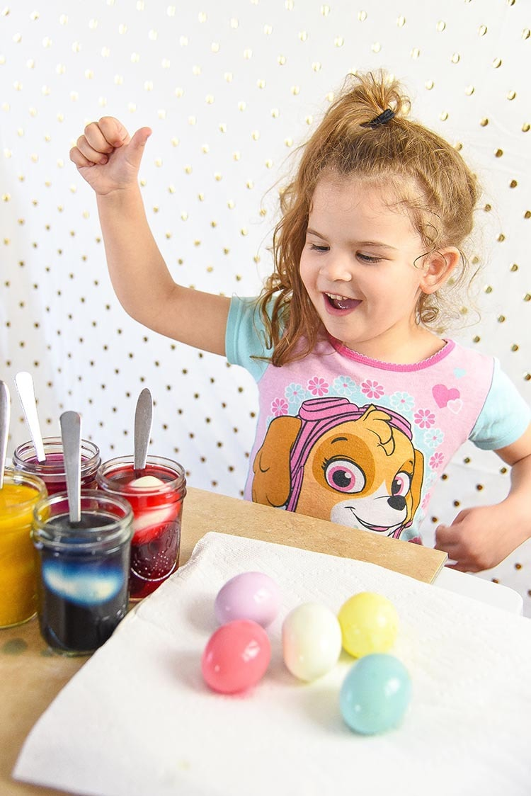 Dyeing Easter Eggs is so much fun and with our Homemade Easter Egg Dye you can dye the actual egg instead of the shell! Kid friendly Recipe anytime, not just Easter! so much fun for kids!