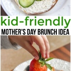 Simple and fun Mother's Day Brunch Breakfast that is kid friendly for mom and little ones. Bagel Breakfast and brunch strawberry pound cake dessert.