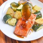 This Maple Salmon Recipe is one of my favorite baked salmon recipes! It cooks up quickly and you could even cook it from frozen! The maple sauce is so delicious and not just for salmon, you could even use it on shrimp, pork, chicken, or even beef. Glaze