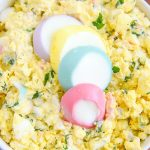 This simple egg salad recipe is a kid friendly recipe that the whole family will enjoy. We use our steamed hard boiled eggs and our homemade Easter egg dye to make it colorful and fun! close up