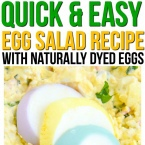 This simple egg salad recipe is a kid friendly recipe that the whole family will enjoy. We use our steamed hard boiled eggs and our homemade Easter egg dye to make it colorful and fun!