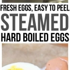 Steamed Hard Boiled Eggs results in an easy to peel hard boiled egg every time! Steaming hard boiled eggs allows you to skip waiting to use older eggs for hard boiling and you can use fresh eggs without any issues. Perfect for deviled eggs and of course Easter recipes !