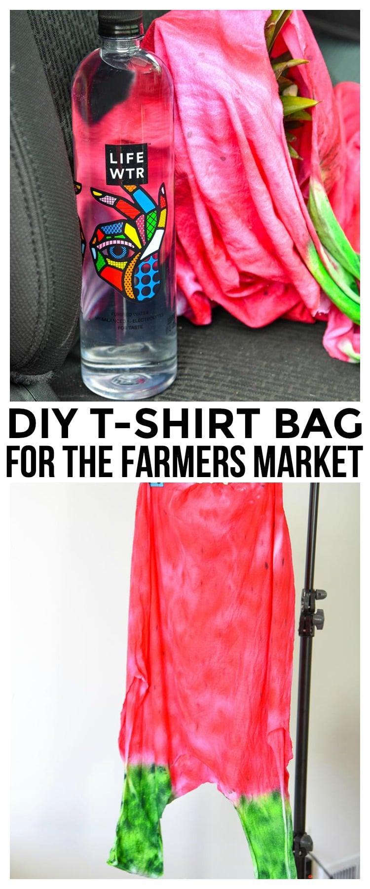 Make your own DIY T-Shirt Bag perfect for the summer farmers markets or just toting around. Use a new or old t-shirt to make this fun tote bag.