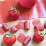 Childhood favorite Homemade Fruit Leather Recipe! Organic applesauce, organic strawberries are all you need for this Strawberry Apple Fruit Leather Recipe.