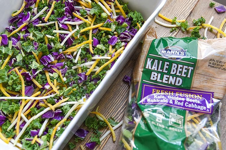 This healthy breakfast bake is a quick and easy sheet pan recipe! Nutritious meal with healthy vegetables Kale, Kohlrabi, Beets, Cabbage & farm fresh Eggs. Kale Beet Blend from Mann's Fresh Vegetables