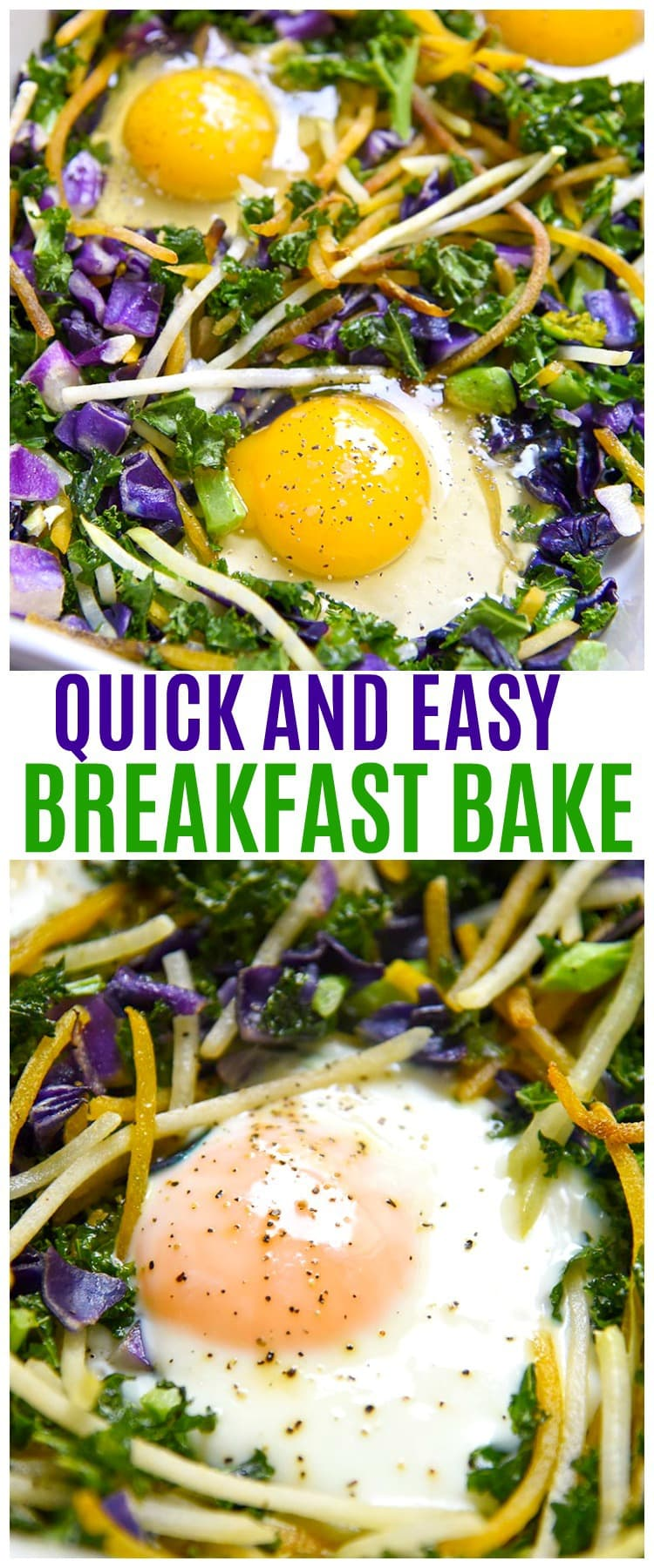 This healthy breakfast bake is a quick and easy sheet pan recipe! A nutritious meal filled with healthy vegetables like Kale, Kohlrabi, Beets, Cabbage and farm fresh Eggs.