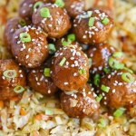 Korean Style BBQ Meatballs with Warm Coleslaw