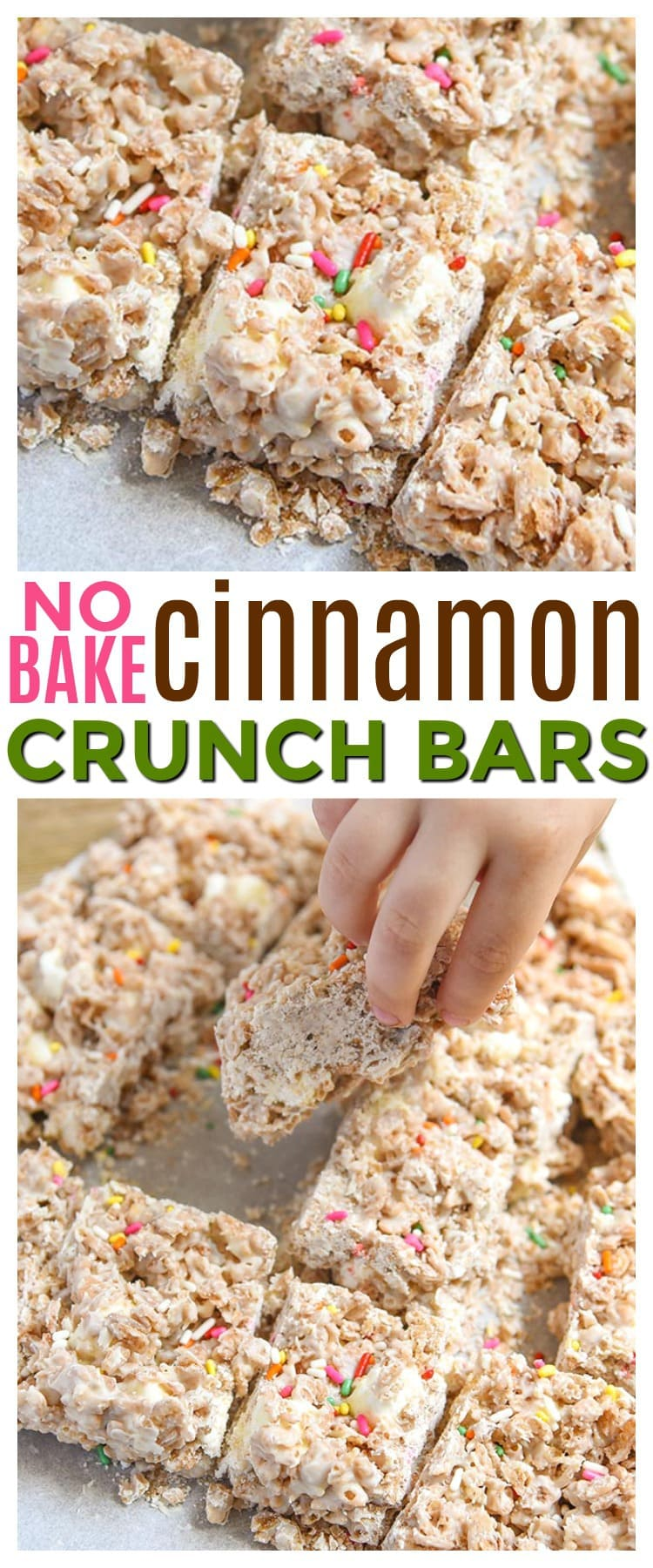These white chocolate cinnamon crunch bars are a fun and easy no bake dessert for kids to make on Mini Chef Mondays using breakfast cereal, white chocolate, and marshmallows.