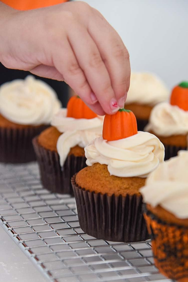 Pumpkin Cupcakes with Cream Cheese Frosting and Mini Pumpkins