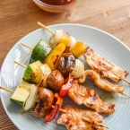 Teriyaki Chicken Kabobs with veggies and our secret weapon chicken kabob marinade. This kabob recipe is great for kids and adults! Ready to eat!