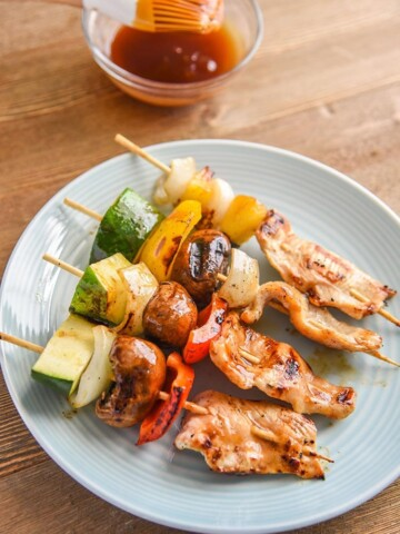 Teriyaki Chicken Kabobs with veggies and our secret weaponchicken kabob marinade. This kabob recipe is great for kids and adults! Ready to eat!