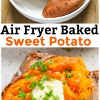 Our Air Fryer Baked Sweet Potato recipe results in a sweet potato baked to perfection. Quick and easy side dish recipe.