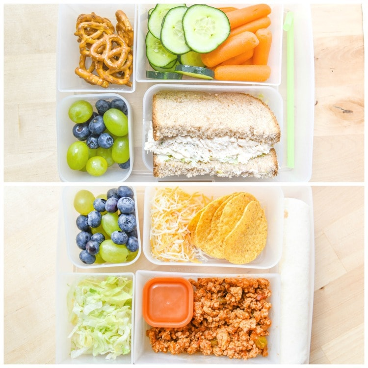 Chicken Salad or Easy Taco Lunch Kit for Back to School. Use a bento lunchbox for school, or even enjoy this as a Taco Tuesday Family Dinner!