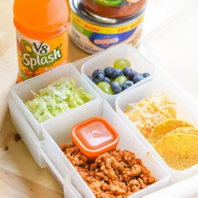 Easy Taco Lunch Kit for Back to School. Use a bento lunchbox for school, or even enjoy this as a Taco Tuesday Family Dinner! Products at Walmart