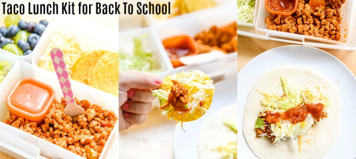 Hard or Soft Easy Taco Lunch Kit for Back to School. Use a bento lunchbox for school, or even enjoy this as a Taco Tuesday Family Dinner!