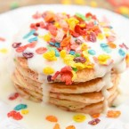 Fruity Pebble Pancakes with Cream Cheese Syrup