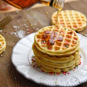 Easy Homemade Waffles Recipe for a fun family breakfast! Thick, crispy, fluffy, waffles at home! (syrup drizzle)