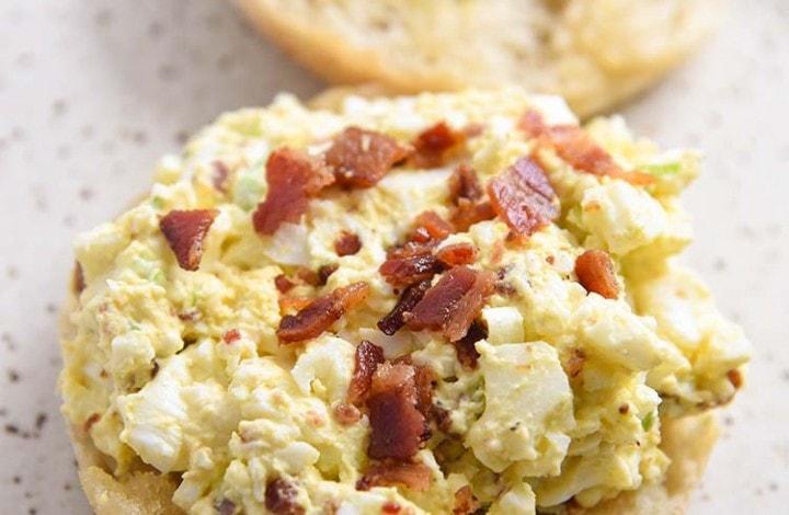 Bacon Egg Salad on an English Muffin Breakfast Recipe
